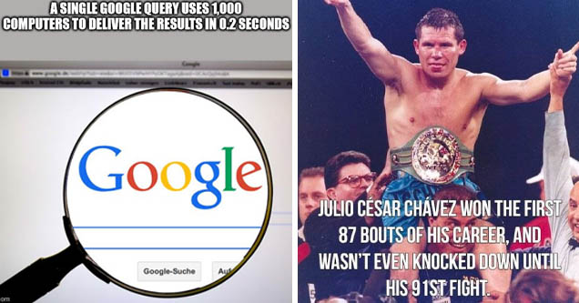 google - A Single Google Query Uses 1,000 Computers To Deliver The Results In 0.2 Seconds Google GoogleSuche Aus ngflip.com   1 We Julio Cesar Chavez Won The First 87 Bouts Of His Career, And Wasn'T Even Knocked Down Until His 9 1ST Fight. Mesy