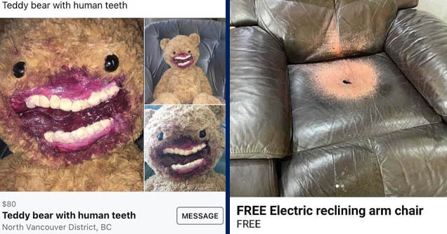 snout - Teddy bear with human teeth $80 Teddy bear with human teeth North Vancouver District, Bc Message    car seat cover - R ... Free Electric reclining arm chair Free
