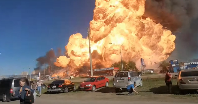 a huge explosion at a gas station in Russia