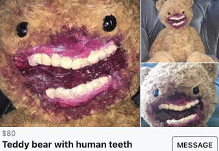 snout - Teddy bear with human teeth $80 Teddy bear with human teeth North Vancouver District, Bc Message