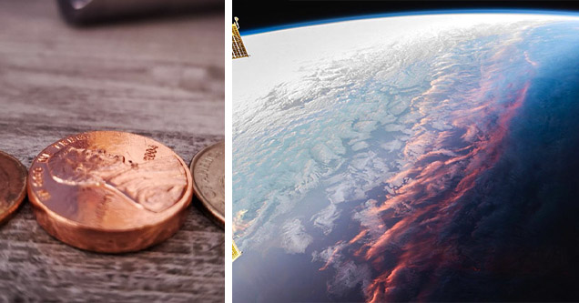 thick penny, sunset from space