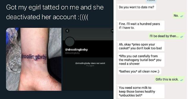 e-girl tattoo, cringe texts