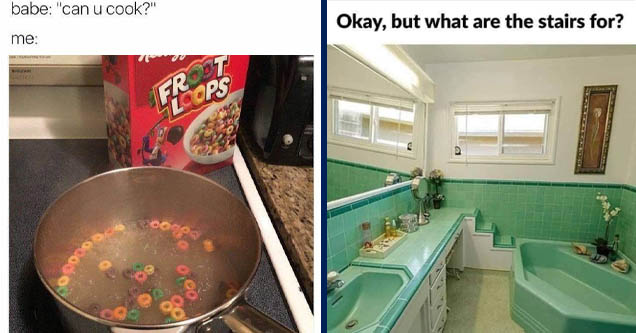 follow me for recipes meme - babe  | vintage bathrooms - Okay, but what are the stairs for?