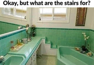 vintage bathrooms - Okay, but what are the stairs for?