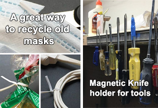surgical mask zip ties, magnetic knife holder for tools