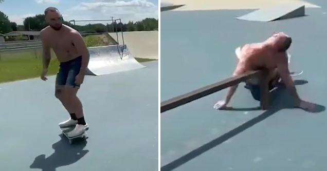 a skater falls and hits his back