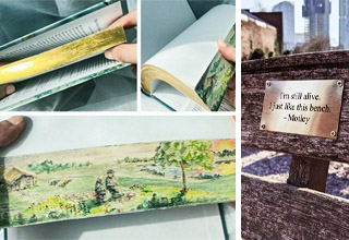 photo - hidden fore edge paintings, funny bench