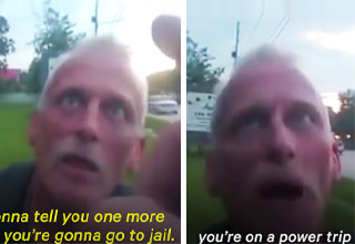 cop bullying veteran during power trip