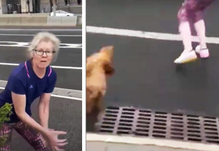 nyc karen trying to lure dog into street