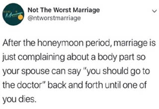 """Settle in for the long haul with some marriage memes that accurately encapsulate the daily comedy that is <strong><a href=""""https://www.ebaumsworld.com/pictures/30-memes-about-married-life-that-are-dead-on/85779303/"""" target=""""_blank"""">married life</a></strong>."""
