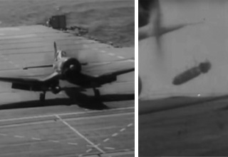 fighter jet drops bomb on USS Orskany