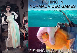 funny gaming memes -  Lady D -  fishing in normal games vs fishing in subnuatica