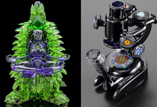 """These trippy and amazingly intricate bongs and pipes turn getting baked into an artform.  A lot of these epic glass pieces can be found at <a href=""""https://www.dabsocietyglass.com/products/banjo-glass-devi"""" target=""""_blank""""><strong>Banjo Glass</strong></a> but you better have deep pockets as the most expensive one comes in at a steep 1 million dollars."""