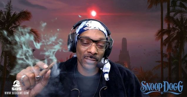 Snoop Dogg smoking a joint while Twitch Streaming