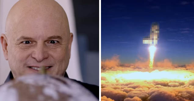 Jason Alexander as Jeff Bezos looking dementedly at a globe   D**k rocket flying to space