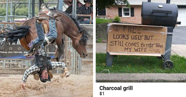 a cowboy getting flipped upside down off a horse and a bbq grill with a funny sine