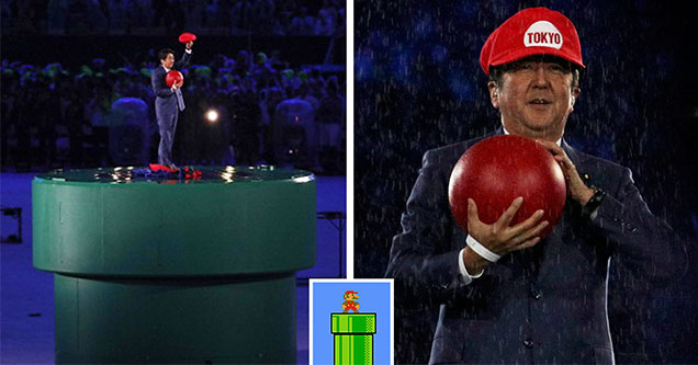 Japan's president at the 2016 Rio Olympics holding a red ball and wearing a Mario hat -  2020 Olympics opening ceremony