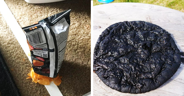 potato chips perfectly upside down, burned pizza