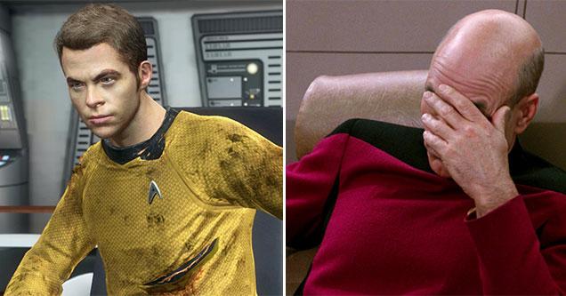 the worst Star Trek games ever made -  Chris Pine terrible cgi and Captain Picard facepalm meme