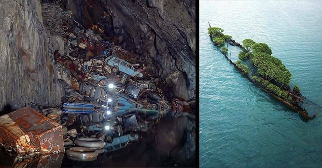 abandoned shipwreck and cars