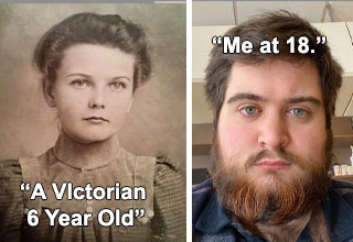 victorian girl, young overweight man