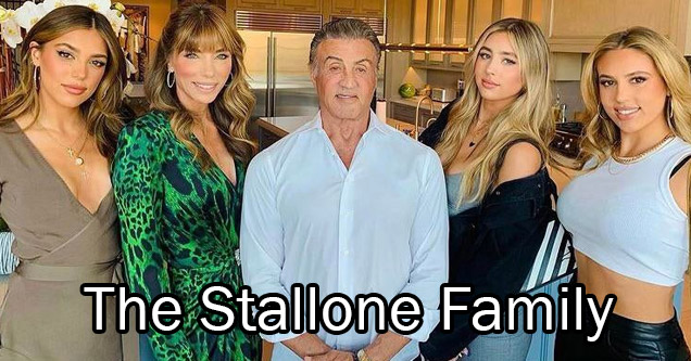 Sylvester Stallone and his wife and 3 daughters