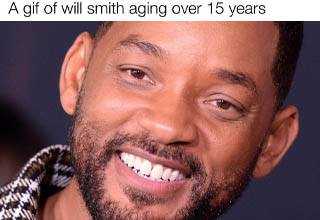 will smith - A gif of will smith aging over 15 years made with mematic