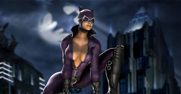 freaky video game girlfriends -  Catwoman crouching on a ledge