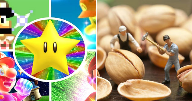 video game power-ups that will surely shrink your balls -  Mario Cart - Star power -  two small men cracking open nuts