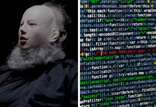 White hat hacker with mask for anonymity   Data on screen