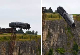 locomotive crashes off cliff in stunt for seventh 'Mission: Impossible