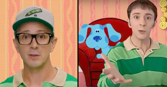 Blues Clues Steve Burns in a recent video and in an old clip from the show.