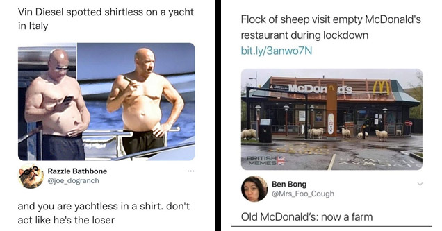 a funny comeback on a meme of vin diesel without a shirt on