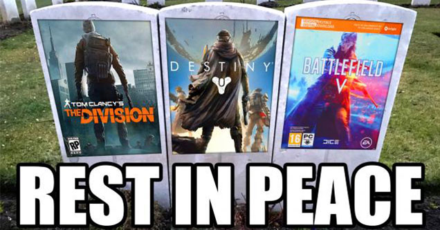 the death of great video game cover art-  The Division -  Destiny 2 -  Battlefield v