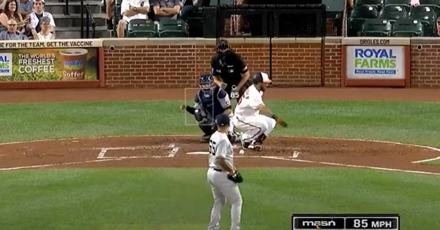 an mlb player who foul tipped a ball into his nuts