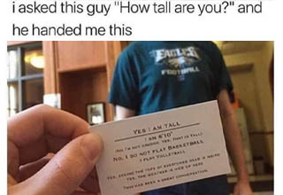 asked this guy how tall are you - i asked this guy