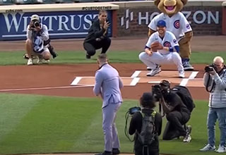 Conor McGregor throw a god awful first pitch to start the Cubs game
