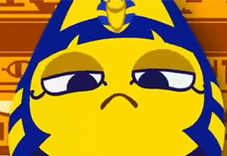 a screenshot of ankha from animal crossing in an animation made by zone
