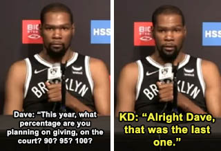 Kevin Durant trolled by Dave Letterman at Nets press conference