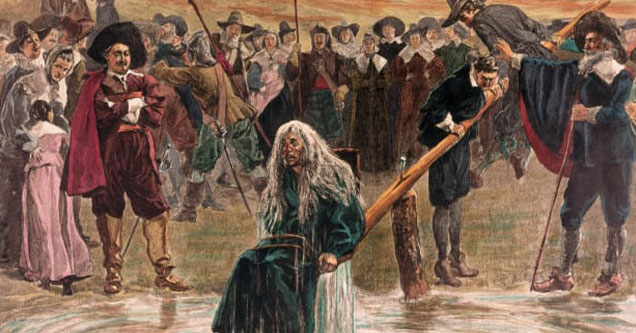 seven witch tests used during the witch trials -  woman being pushed into a body of water tied to a chair