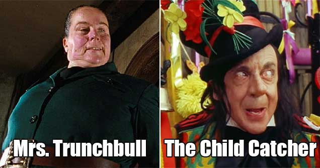 scary villains from kid shows -  mrs trunchbull - the child catcher