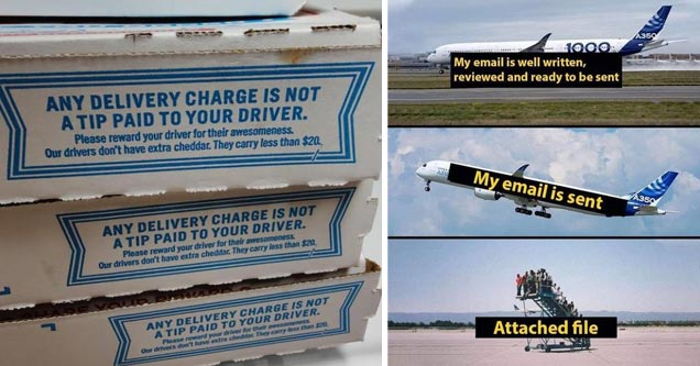 a pizza box that says deliver fees aren't given to drivers