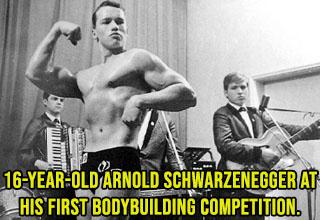 arnold schwarzenegger age 16 - A sixteen-year-old Arnold Schwarzenegger at his first body-building competition.