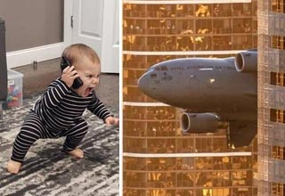 a cute baby on the phone and a plane flying through buildings