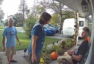 ring doorbell video of people on a porch talking