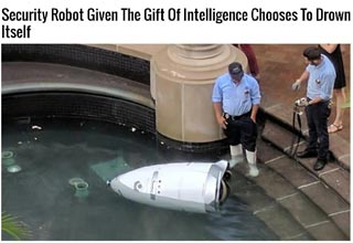 a meme with a robot that drowned itself after given AI