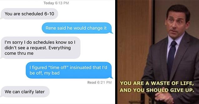 michael scott and boss text
