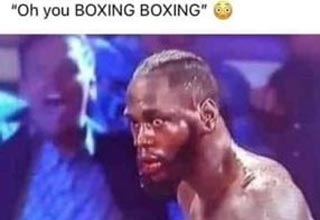 a funny meme with a boxer whos stunned