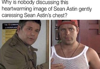 bob from stranger things 50 first dates - Why is nobody discussing this heartwarming image of Sean Astin gently caressing Sean Astin's chest? The 10 Commane Workplace
