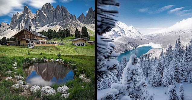 lake in summer and winter